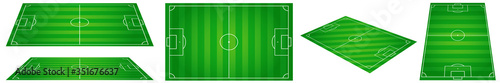 Photo Classic football field with two-tone green coating