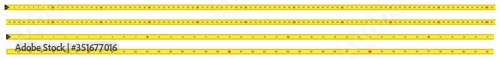 Obraz Yellow Measure Tape. Centimeter and Inch. Dual Scale. Ruler measuring tapes. Vector long tape set for measure, inches and metric meters. Measure Tool Equipment Several Variants, Proportional Scaled. - fototapety do salonu