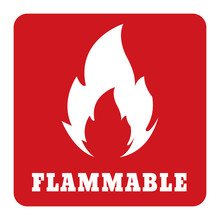 Flammable Icon Red Sign Label....