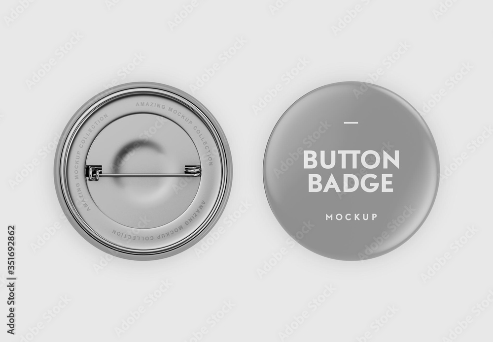 Fototapeta Realistic 3D Circular Pin Button Badge Mockup