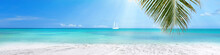Sunny Tropical Caribbean Beach With Turquoise Water Background, Sail Boat In Lagoon