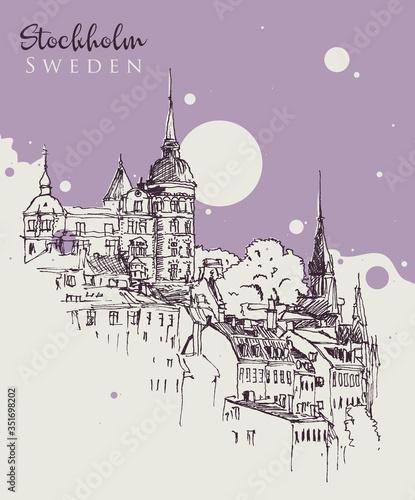 Drawing sketch illustration of Stockholm