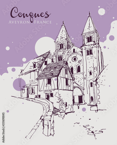 Drawing sketch illustration of Conques Village in Aveyron, France Canvas Print