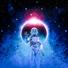 Daughter Of The Sun / 3D Illustration Of Science Fiction Female Astronaut Raising Hand In Greeting Before Solar Eclipse In Outer Space