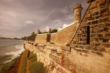 Fortified Wall Of Fort At Coast