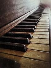 Close-up Of Abandoned Piano