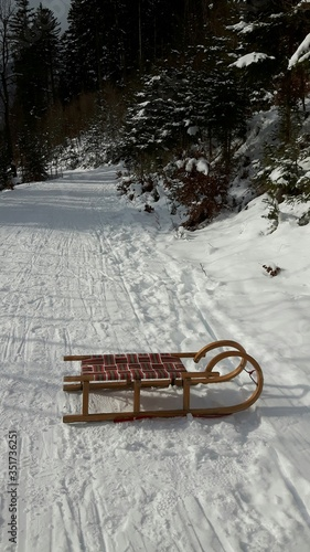 Obraz na plátně High Angle View Of Sled On Snowfield