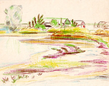A Rough Sketch On Paper With Colored Pencils Of A Landscape With Vegetation, Buildings And A Reservoir. Shore Of The Sea Estuary.