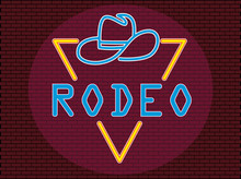 Original Concept Real Cowboy Neon Text. Vector Illustration In Neon Style Suitable For Website Design And Advertising