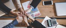 Teamwork Success. Top View Exe...