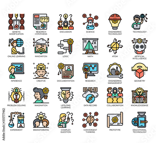 Photo Set of stem thin line and pixel perfect icons for any web and app project