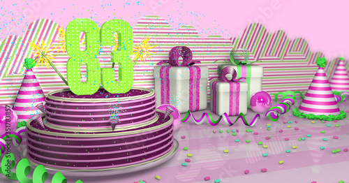 Papel de parede Purple round 83 birthday cake decorated with colored sparks and pink lines on a table with green streamers, party hats, gift boxes and candies on the table, on a pink background