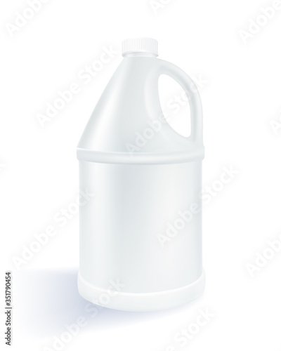 Obraz na plátně White cylindrical plastic gallon on a white background Used for milk product, alcohol, beverage, oil, water