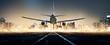 Flugzeug landet bei Nacht in einer Großstadt