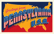 Greetings From Pennsylvania USA. Retro Postcard With Patriotic Stars And Stripes Lettering And United States Map In The Background. Vector Illustration.