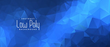 Blue Low Poly Banner With Tria...