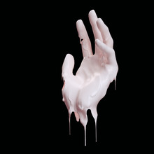 Dripping Paint On Hand Isolated On Black, 3d Rendering