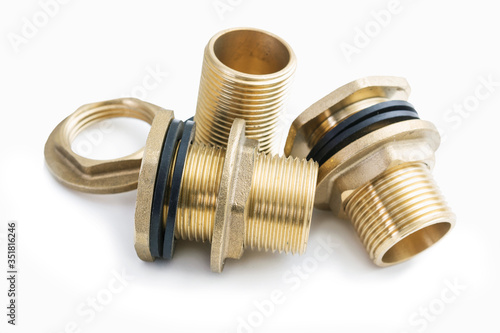 Brass fittings with rubber washers on white background Canvas-taulu
