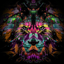 Abstract Background With A Lion
