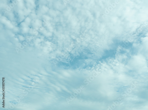Altocumulus cloud on beautiful blue sky , Fluffy clouds formations at tropical z Canvas Print
