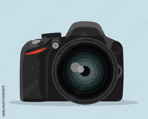 Fotografering DSLR photo camera vector illustration in flat style