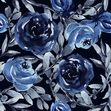 Watercolor Hand Drawn Blue Botanical Rose Leaves And Branch Foliage Elegance Set Seamless Pattern