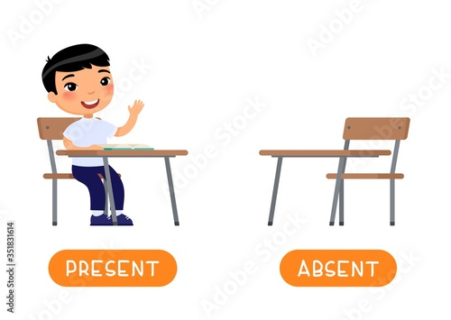 Absent and present antonyms word card vector template Canvas Print