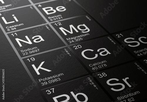 Close up on Potassium, Calcium, Sodium and Magnesium elements on beautiful black Fototapet