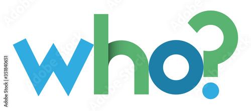 Obraz WHO? blue and green vector geometric type banner - fototapety do salonu