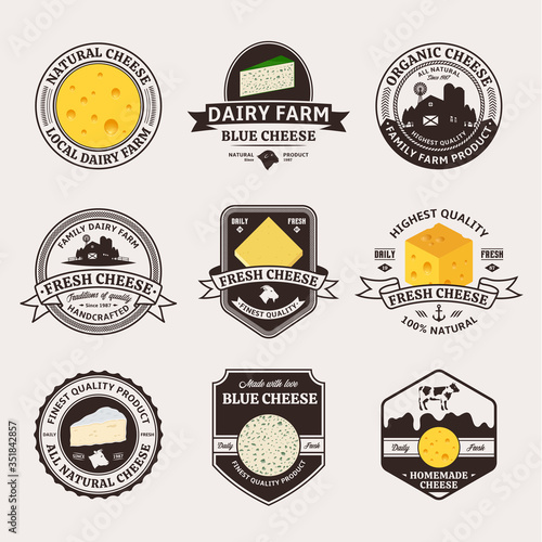 Fototapeta Set of cheese vintage badges and icons for dairies and cheese packaging and branding obraz