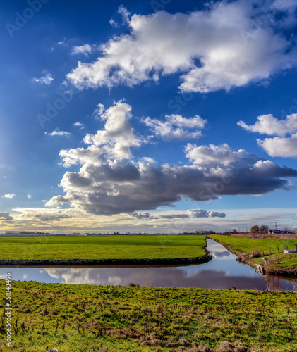 Sky & polder view between Wateringen and 't Woudt (NL) Fototapet