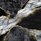 abstract background, black and white marble mosaic with golden veins, japanese kintsugi technique, fake painted artificial stone texture, marbled surface, digital marbling illustration - 351851669