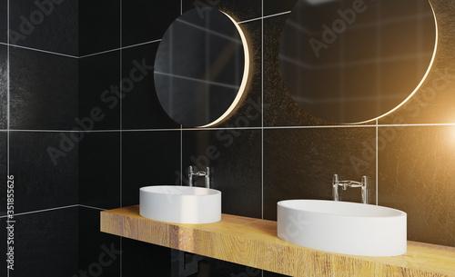 Fototapeta bathroom. large wooden countertop with washbasins. modern dark design.. 3D rendering.. Sunset. obraz