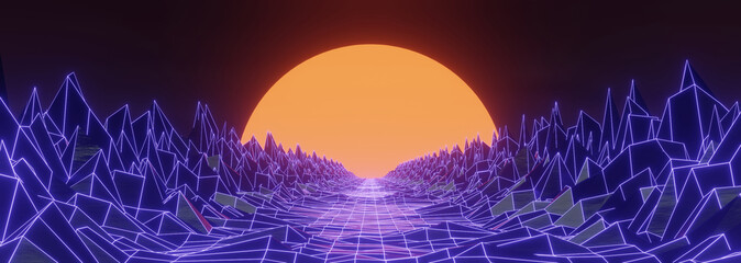 3D render 80s retro futuristic sci-fi style. Retrowave landscape, neon lights and low poly terrain grid. Stylized vintage vaporwave 3D background with mountains and sun