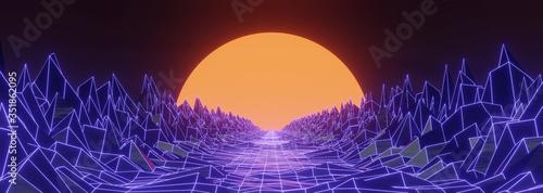 Obraz na plátně 3D render 80s retro futuristic sci-fi style