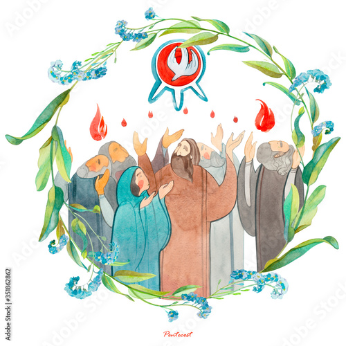 Fotomural Watercolor illustration Descent of the Holy Spirit on the Apostles, Holy Trinity Day, Pentecost, whitsunday