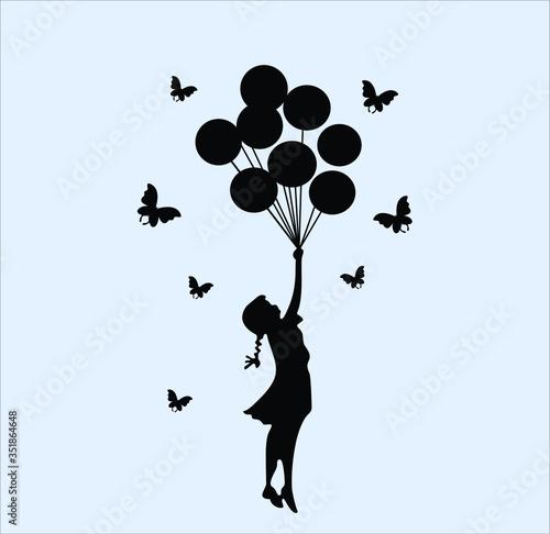 Compre Balão Black Butterfly Girl Recados Decalques DIY Vinil Removível De Banks Canvas-taulu
