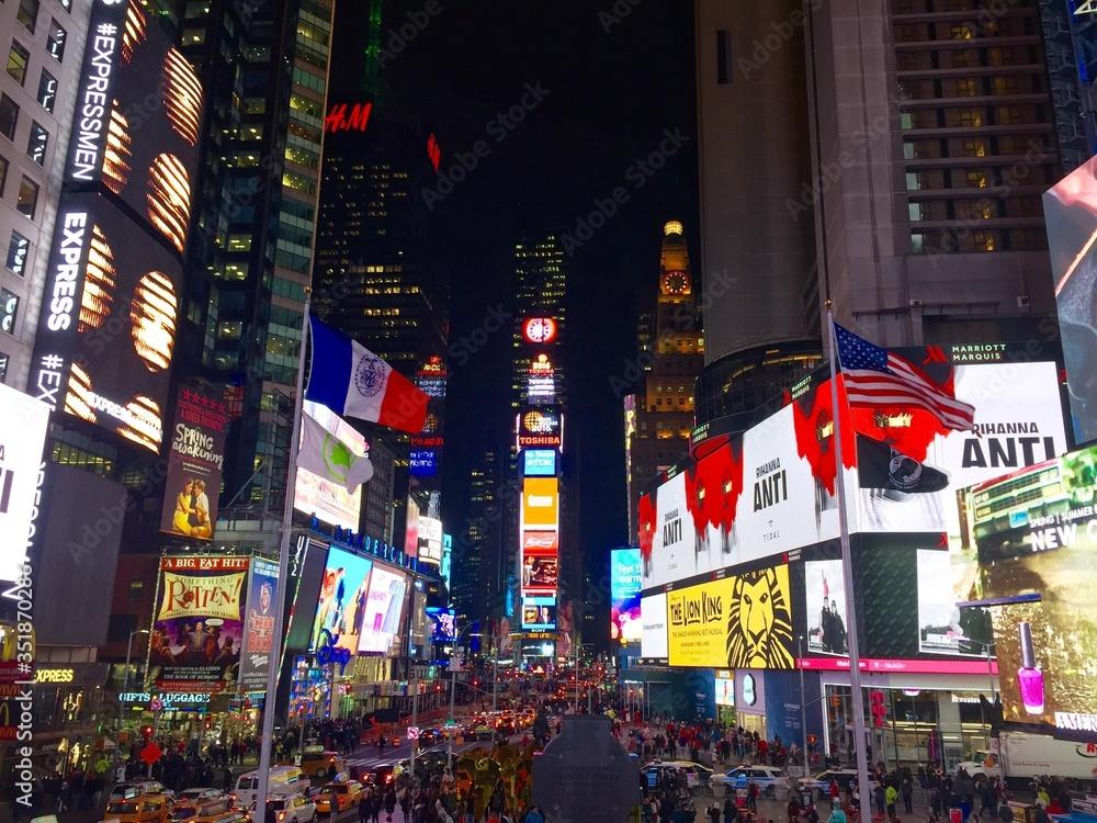 Fototapeta Times Square Lit Up At Night