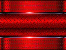 Background Red Metallic, 3d Chrome Vector Design With Diamond Plate Sheet Metal Texture.