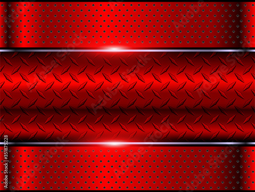 Foto Background red metallic, 3d chrome vector design with diamond plate sheet metal texture