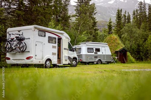 Obraz Family vacation travel RV, holiday trip in motorhome - fototapety do salonu