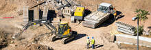 Construction Site With Special Machinery And Workers