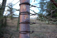 Close-up Of Metal Wires Tied Up Of Pole At Field
