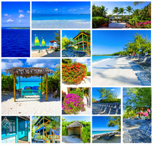 Collage About Half Moon Cay Island At Bahamas.