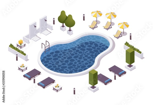 Papel de parede Isometric round pool with outdoor shower, lounger chairs, sunbeds with tables, umbrellas in a hotel or aquapark, villa or cruise ship