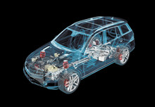 Technical 3d Illustration Of SUV Car With X-ray Effect And Powertrain System.