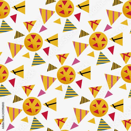Photo Seamless geometric graphic pattern of yellow viruses inspired by russian avant garde