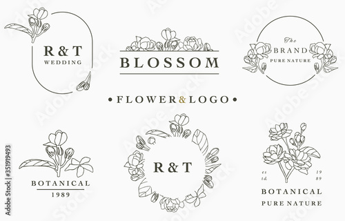 flower logo collection with leaves,geometric,circle frame.Vector illustration for icon,logo,sticker,printable and tattoo