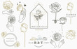 rose logo collection with leaves,geometric,circle,square frame.Vector illustration for icon,logo,sticker,printable and tattoo