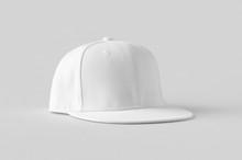 White Snapback Cap Mockup On A Grey Background.